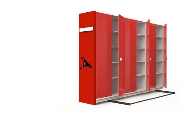 üçlü kırmızı metal kompakt arşiv dolabı